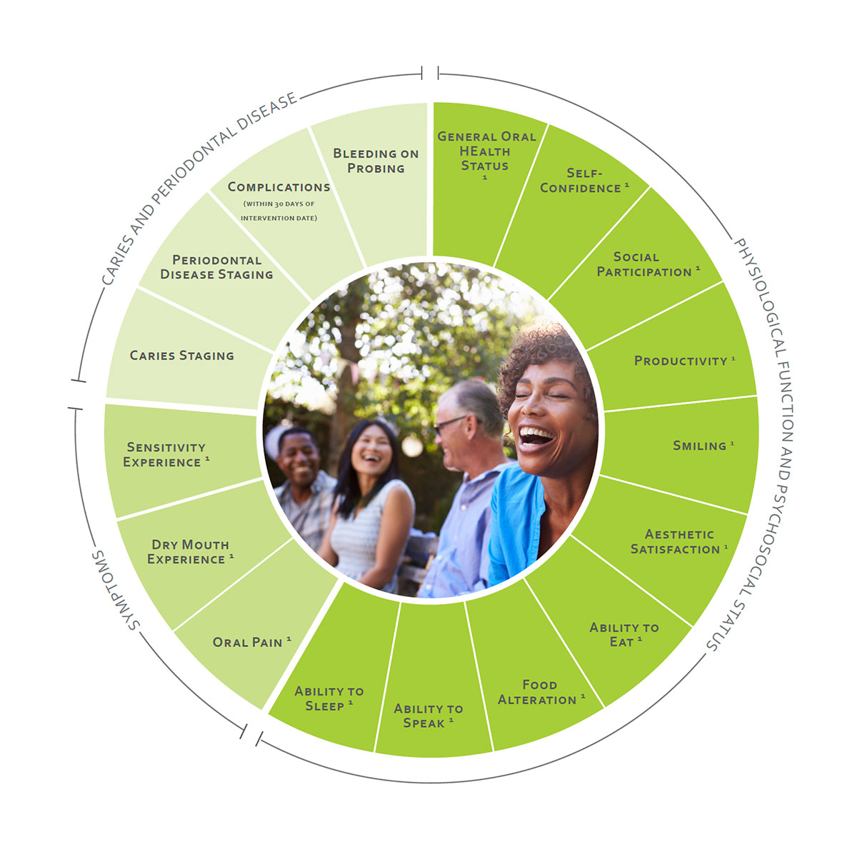 ICHOM Standard Sets Adult Oral Health Outcomes Wheel