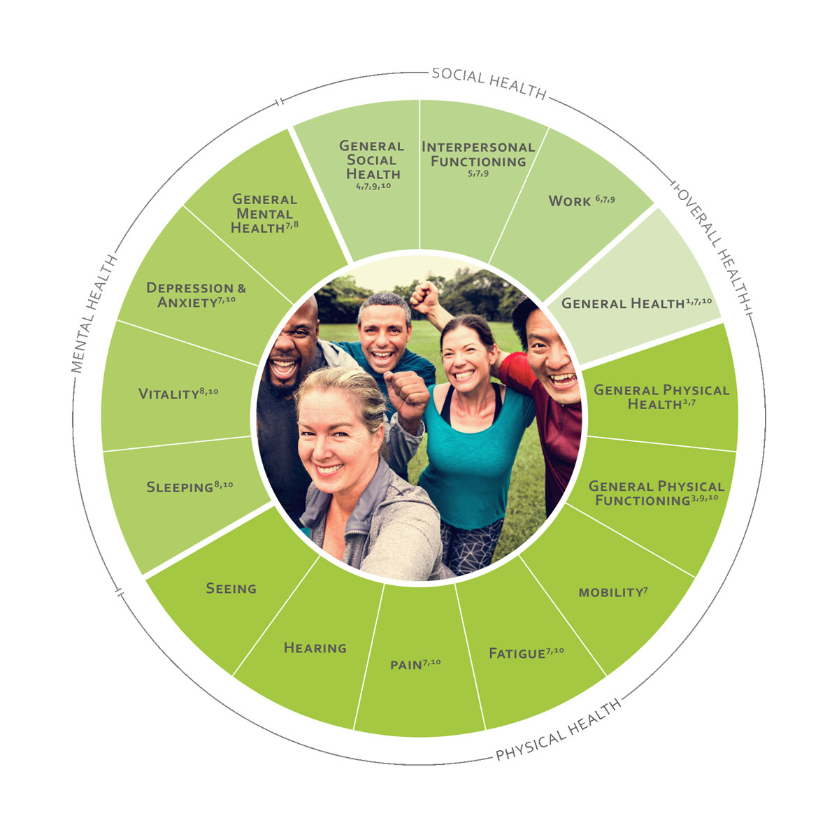 ICHOM Standard Sets Overall Adult Health Outcomes Wheel