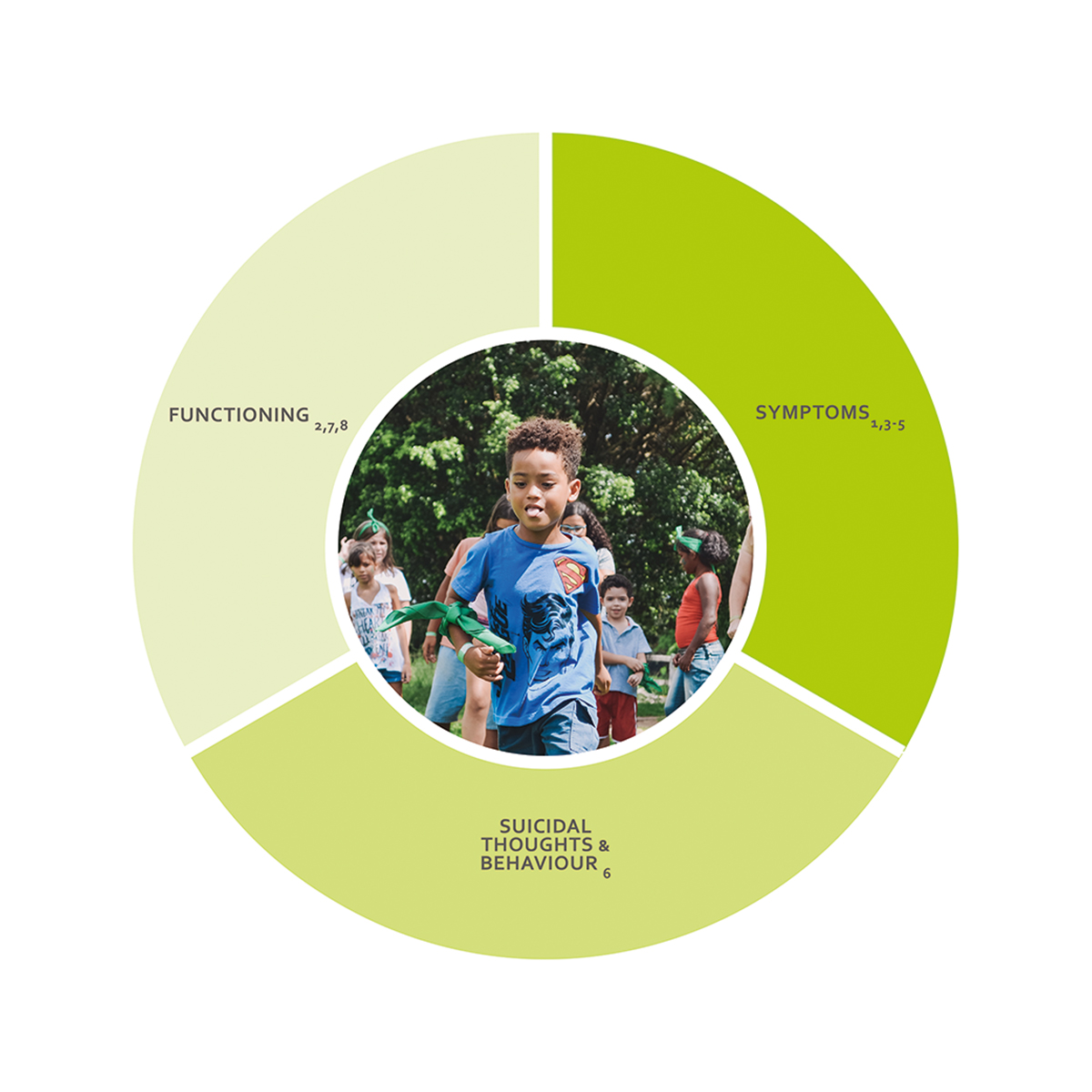 ICHOM Standard Sets Depression & Anxiety for Children & Young People Outcomes Wheel