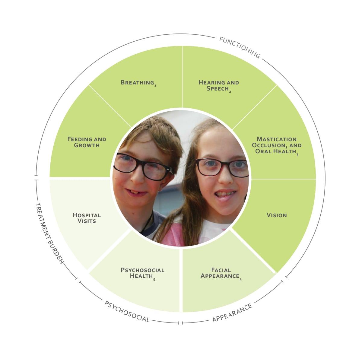 ICHOM Standard Sets Craniofacial Microsomia Outcomes Wheel