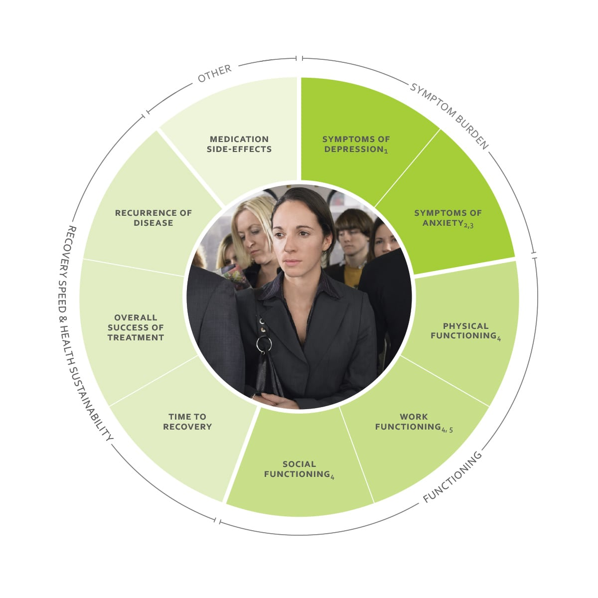 ICHOM Standard Sets Depression and Anxiety Outcomes Wheel