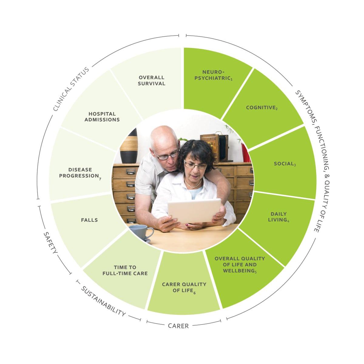 ICHOM Standard Sets Dementia Outcomes Wheel