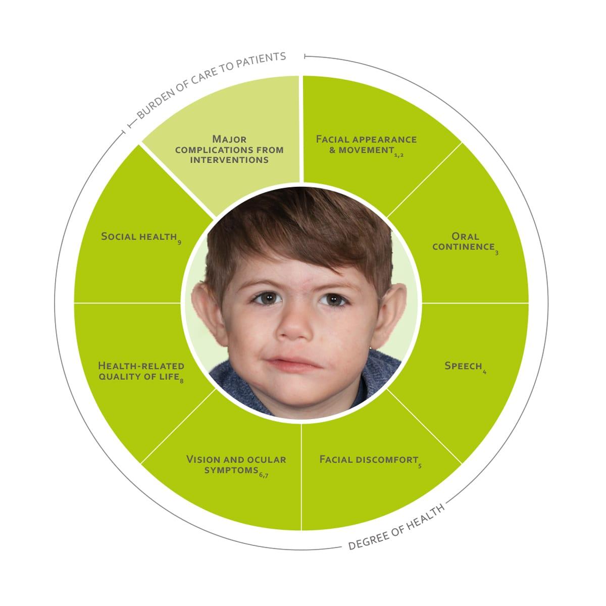 ICHOM Standard Sets Paediatric Facial Palsy Outcomes Wheel
