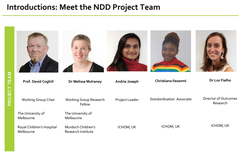 ICHOM Standard Sets Neurodevelopmental Disorders Project Team